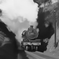 7F loco emerging from Devonshire Tunnel