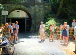 Combe Down Tunnel, sunshine, people, 'Passage' launch, summer 2013