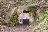 Devonshire tunnel south portal, sealed, overgrown